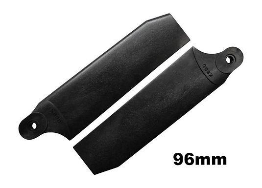 KBDD 96mm Midnight Black Extreme Edition Tail Rotor Blades - 600 Size #4075