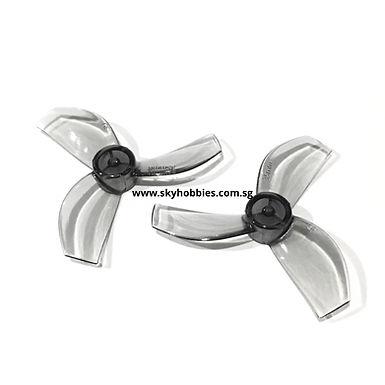 Gemfan 35mm 3-blade Propellers (1.0mm Shaft) (8pcs) - CLEAR GREY