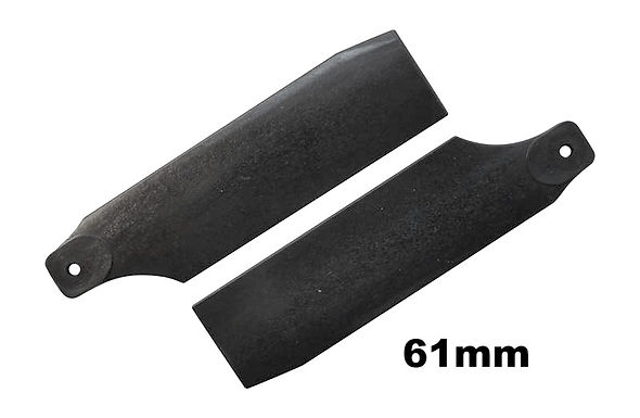 KBDD 61mm Midnight Black Tail Rotor Blades - 450 Size #4020