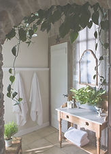 Salle de bains verte