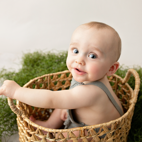 Little boy in organic basket with green vines