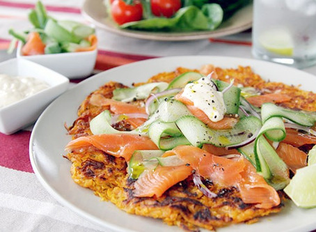 Sweet Potato Rosti & Shaved Salmon & Cucumber