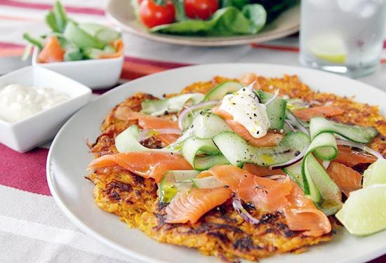 sweet potato rosti with smoked salmon | gluten free paleo lunch recipes