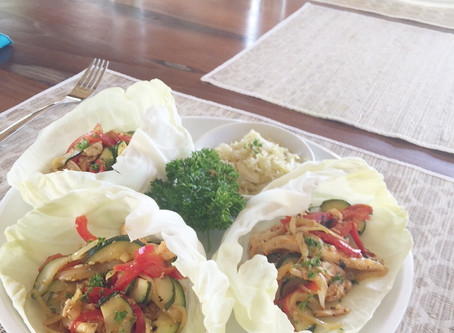 Gluten Free Chicken & Probiotic Fajitas in Cabbage Cups