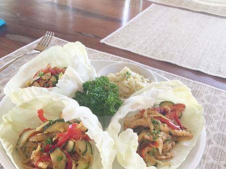 Gluten Free Chicken & Probiotic Fajitas in Cabbage Cups