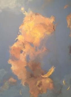 Illuminated Clouds yellows on blue