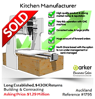 Kitchen Manufacturer business sold by Alan Dufty, Business Broker Auckland
