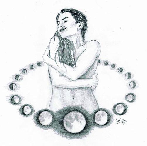 Die Mondfrau. schenkt Gaben für die Welt