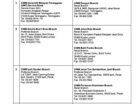 말레이시아 CIMB 클로징 지점 및 대체 지점 안내 (8월 4일 기준)