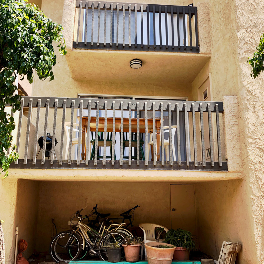 Outside view of balconies & storage
