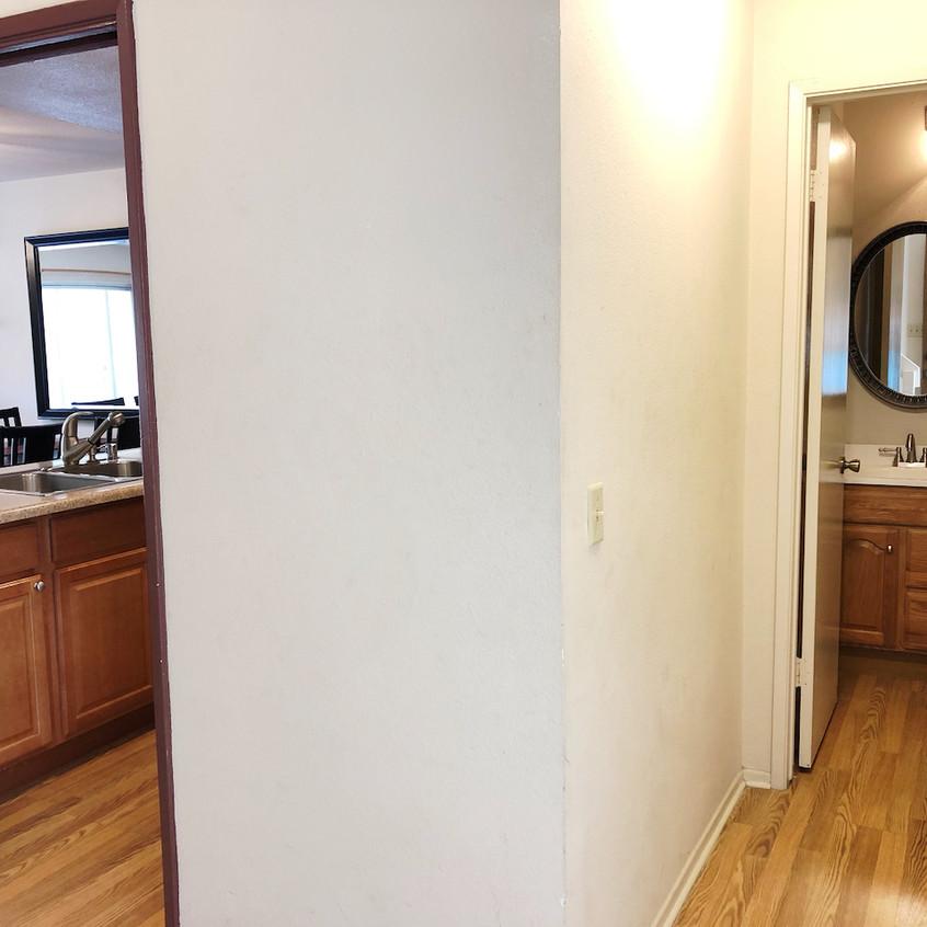 Left: Kitchen; Right: Bathroom