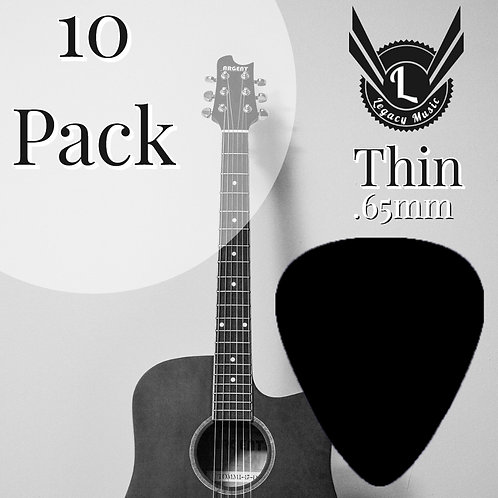 Black Guitar Picks 10 Pack