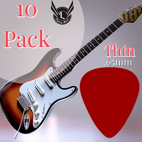 Red Guitar Picks 10 pack