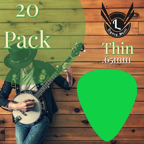 Light Green Guitar Picks 20 Pack