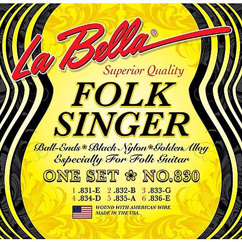 La Bella Folk Singer, Nylon Ball End (Black)