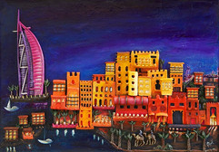 Dubai By Night - For Sale - 60 x 58 cm