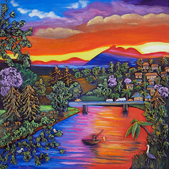 Fishing At Sunset - Sold