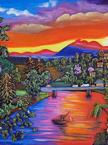 Painting - Fishing At Sunset