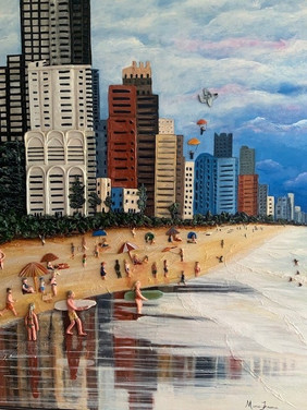 Surfing in Surfers - For Sale - 120 x 100cm