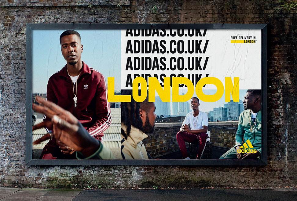Outdoor advertising of male model wearing adidas.co.uk clothing
