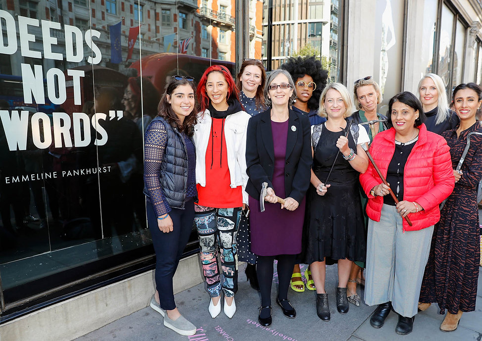 Harvey Nichols recreated the suffragette protests by inviting female leaders to smash shop windows