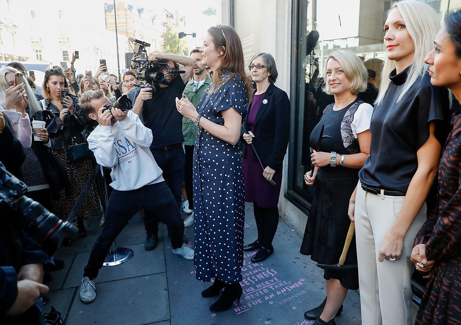 A group of women involved in Harvey Nichols' Broken Windows campaign