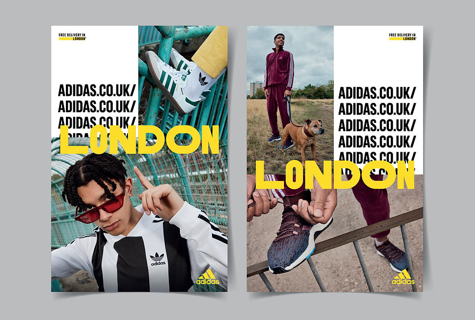Print posters of models wearing adidas.co.uk London products