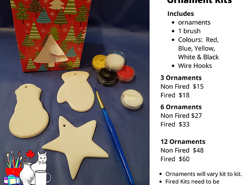 3 Non Fired Ornament Kit