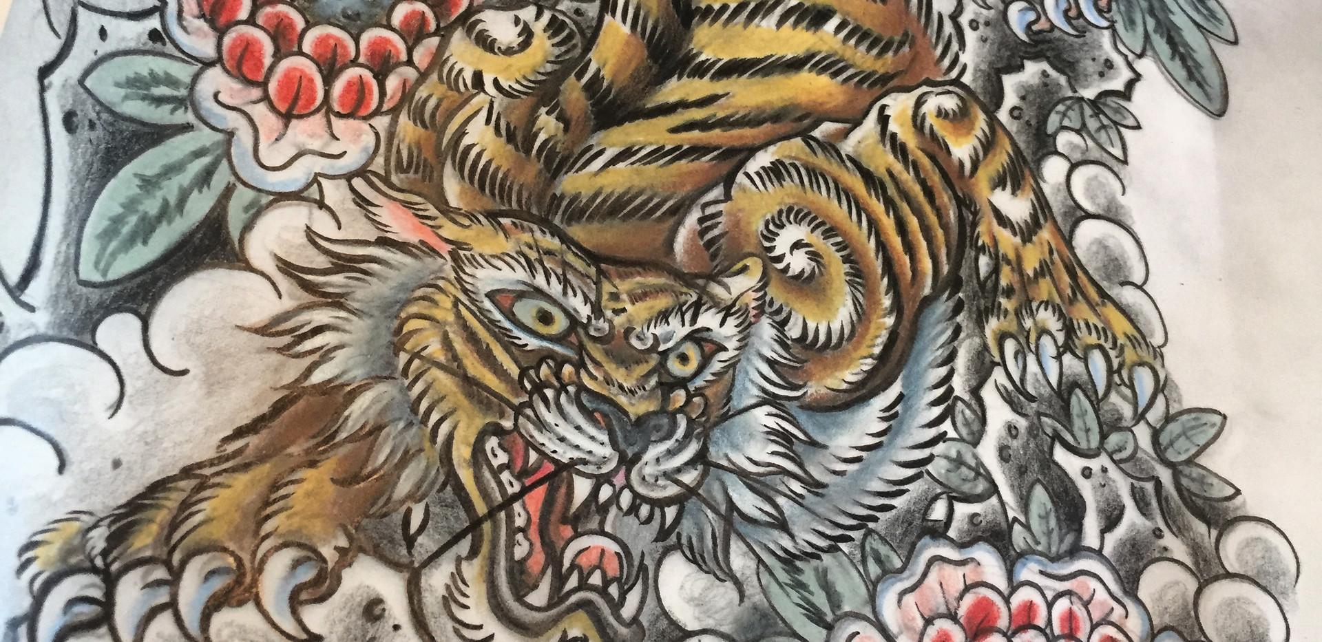 Tiger and Flowers