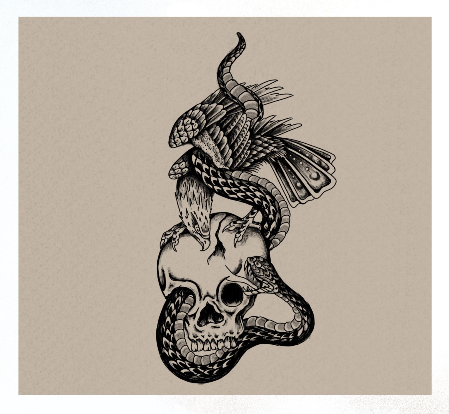 B/G Eagle Snake Skull