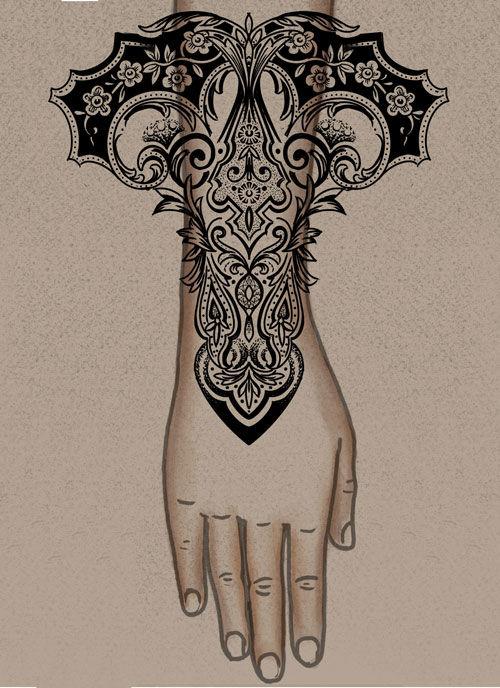 Ornamental Heart and Flower bracelet