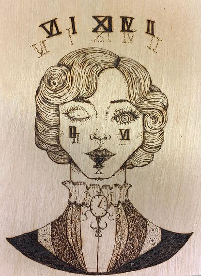 Katharine J Danis, Chronos, Pyrogravure,
