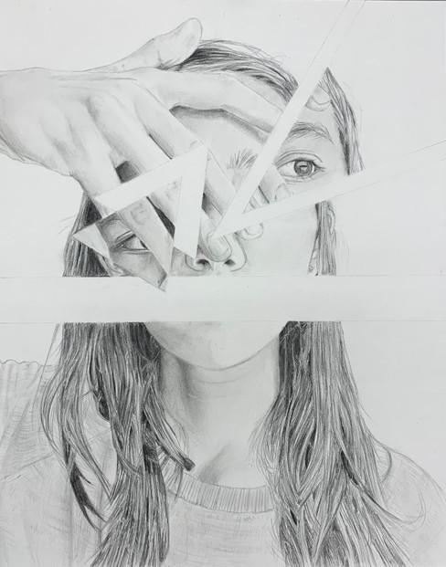 Naomi Lafond -  - Autoportrait/Miroir brisé (Graphite)