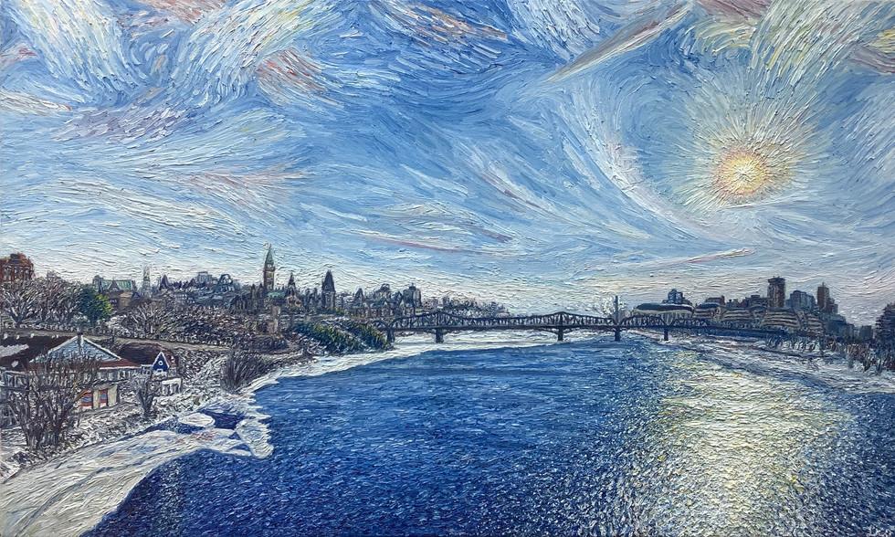Léo Khordoc-Davis - Soleil sur la rivière des Outaouais (Huile)