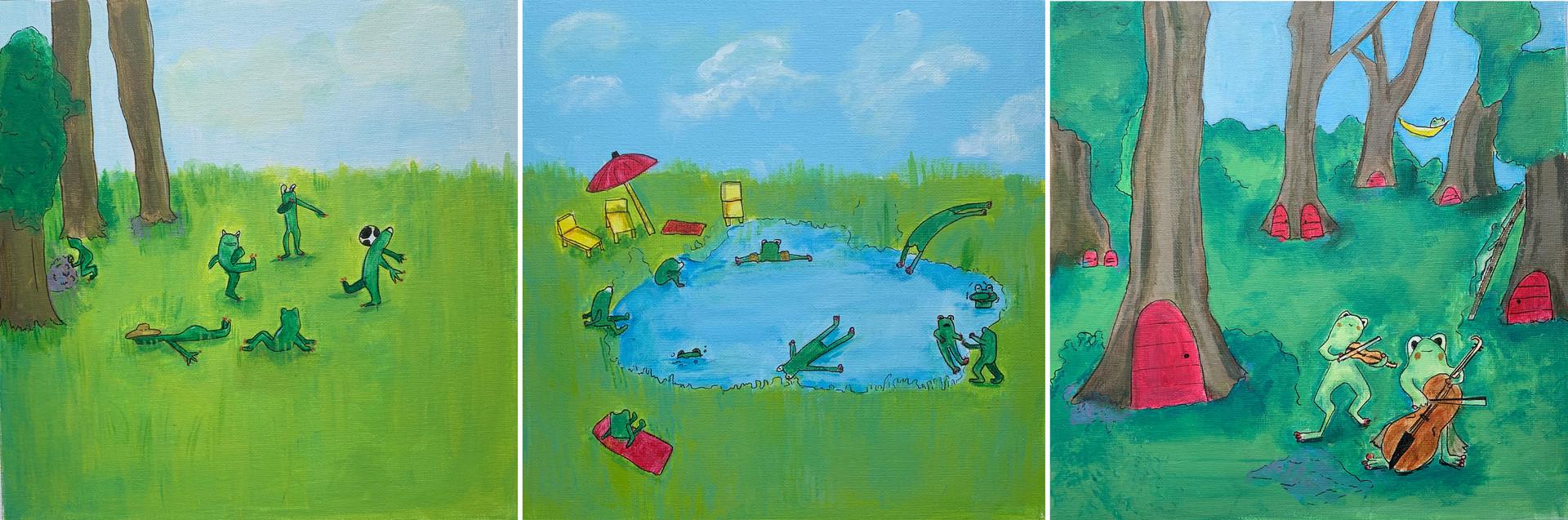 Laurence Rochon - La vie des grenouilles (Acrylique)