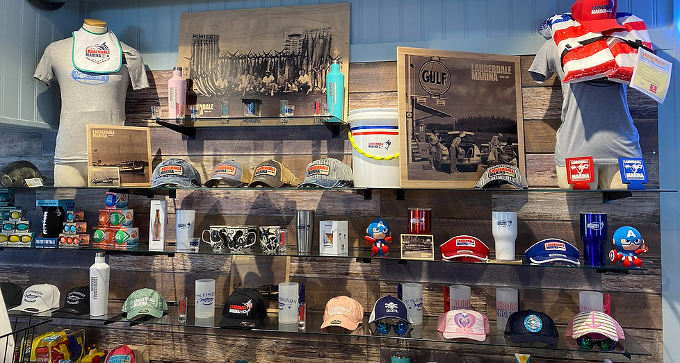 Here are shelves in the Fisheries gift shop section of the Lauderdale Marina dock store.