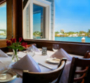 This is a view of a table in the upstairs dining room overlooking the Intracoastal Waterway.