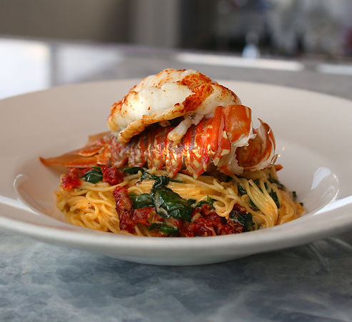 This is the Fisheries Lobster Pasta dish available upstairs for dinner.