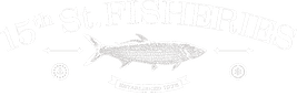 The 15th Street Fisheries logo is found here at the bottom of the page above the address and phone number.