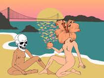 Skull girl + Flower girl for Sanfranpsycho