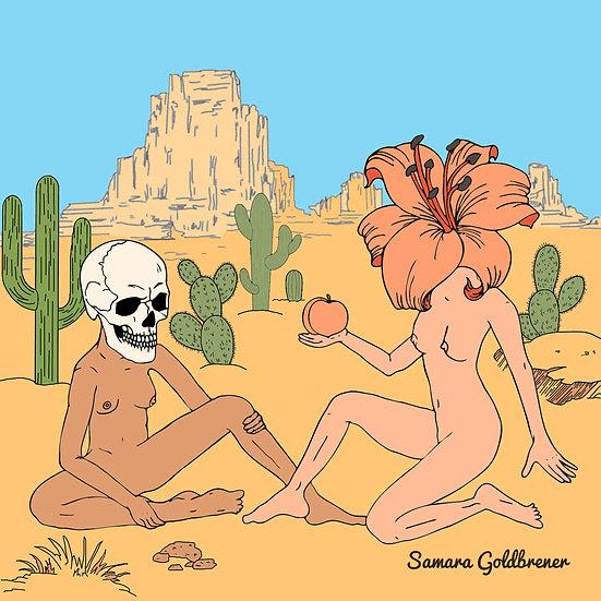 Skull Girl Meets Lily Girl in Eden Print