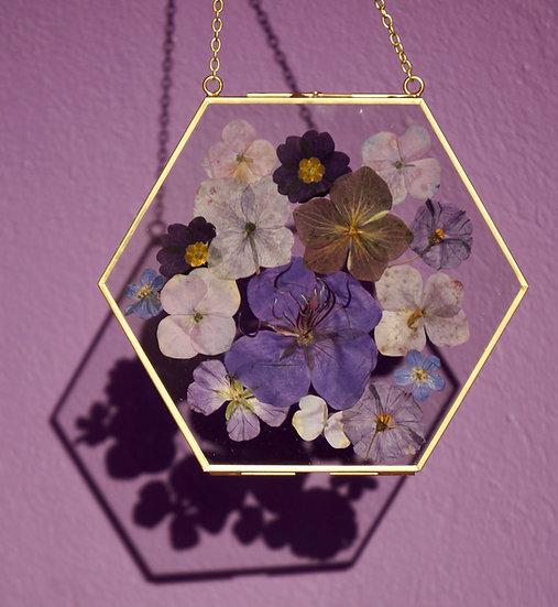 Custom Gold Hexagonal Pressed Flower Frame