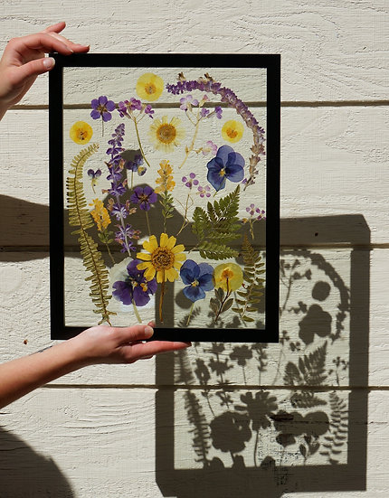 Large Custom Pressed flower Wood Float Frame
