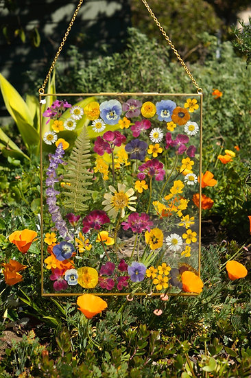 Custom Multicolor Flower Gold Rim Hanging Frame