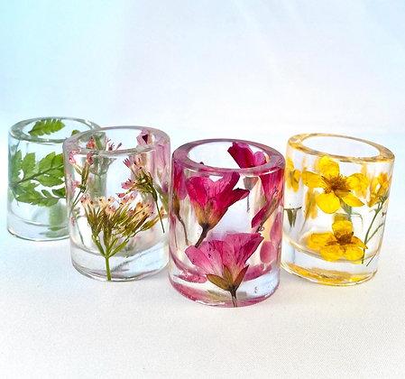 Pressed Flower Shot Glass Set