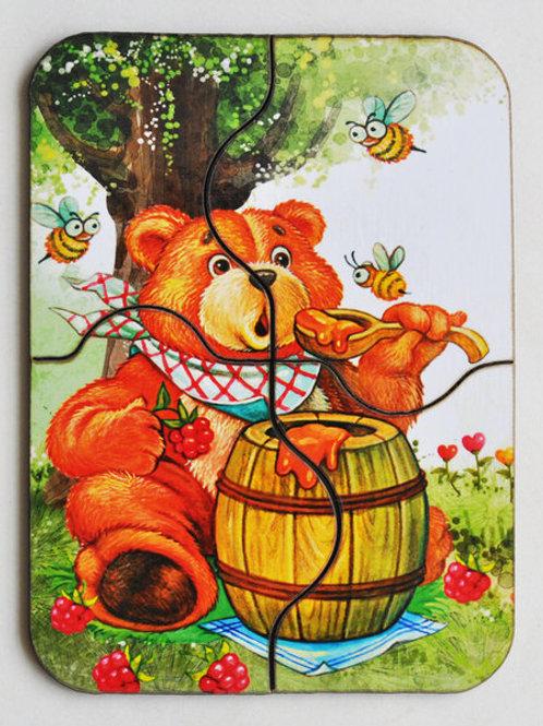 """Мини-пазл """"Медвежонок и мед"""""""