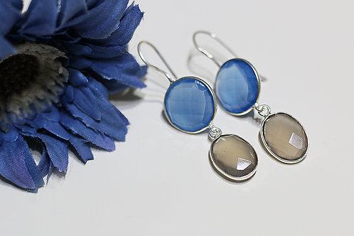 Двойные серебряные серьги с халцедоном и серым кварцем