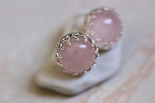 Серебряные серьги-гвоздики с розовым кварцем