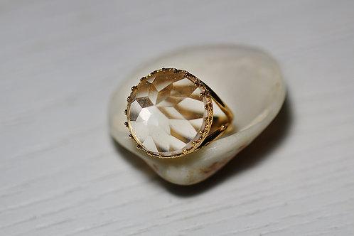 Позолоченное круглое кольцо с горным хрусталем