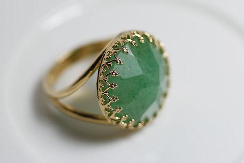 Позолоченное круглое кольцо с авантюрином